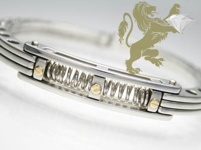 White & Yellow Stainless Steel 'hand Cuff' Bracelet