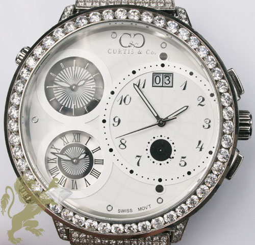 30.00ct Curtis & Co Custom Diamond Watch Big Time World 4 Time Zone