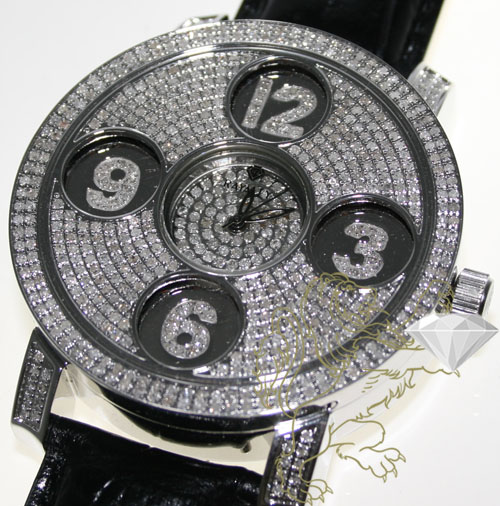 4.00ct Mens Rayalty Genuine Diamond Watch '5 Time-zones'