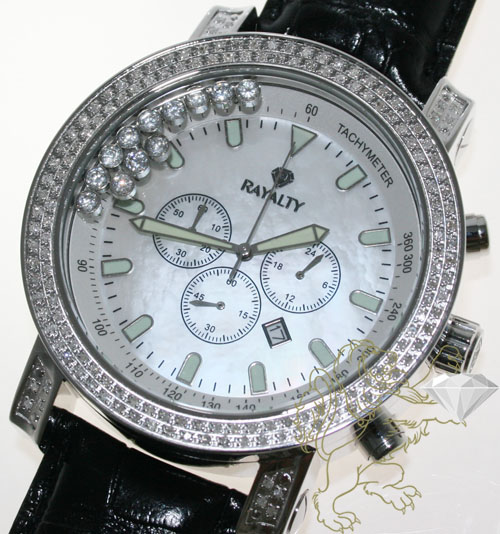1.50ct Mens Rayalty Genuine Diamond Watch 'pearl Dial'