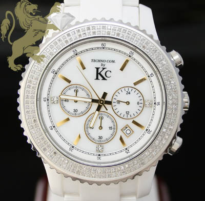 3.00ct Mens Techno Com By Kc Genuine Diamond Watch 'white Ceramic Diamond Link Band'