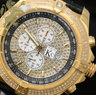 2.00ct Mens Techno Com By Kc Genuine Diamond Watch 'yellow Case Big Bezel'