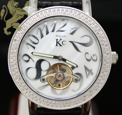 1.50ct Techno Com By Kc Genuine Diamond Watch 'white Pearl Dial/ Tourbillon'