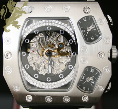 0.60ct Mens Techno Com By Kc Genuine Diamond Watch 'skeleton 3 Time Zones'