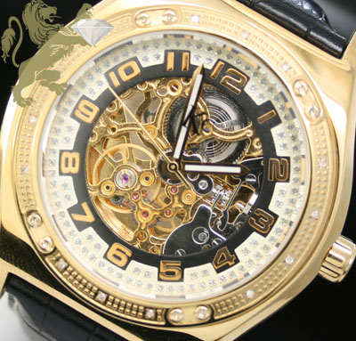 0.20ct Mens Techno Com By Kc Genuine Diamond Watch 'skeleton Face'