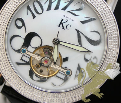 0.30ct Mens Techno Com By Kc Genuine Diamond Watch 'white Pearl Dial/ Tourbillon'