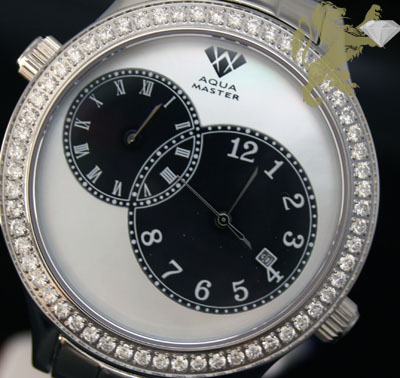2.45ct Mens Aqua Master Genuine Round Diamond '2 Time Zones Black & White Pearl Dial' Watch