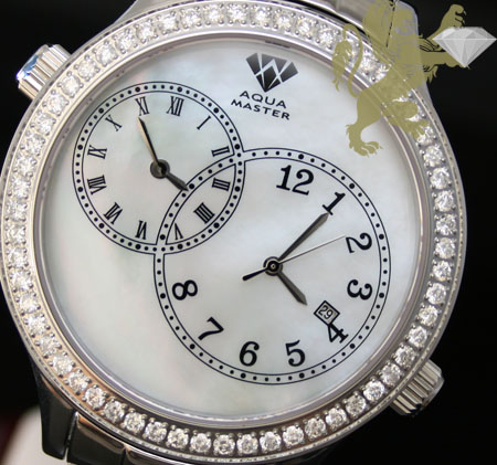 2.45ct Mens Aqua Master Genuine Round Diamond '2 Time Zones White Pearl Dial' Watch