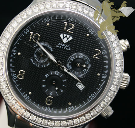 2.45ct Mens Aqua Master Genuine Round Diamond 'textured Black Dial' Watch