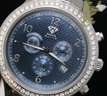 2.45ct Mens Aqua Master Genuine Round Diamond 'metallic Blue Dial' Watch