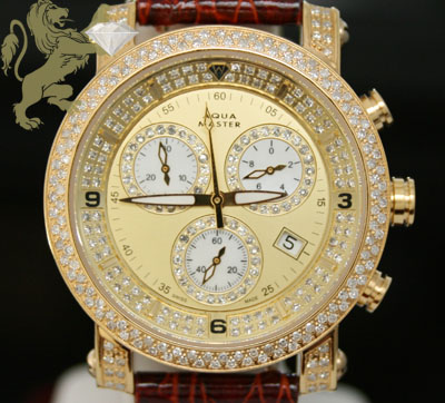 2.20ct Ladies Aqua Master Genuine Diamond Watch 'yellow Case W/ Brown Band'