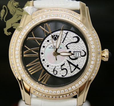 1.70ct Mens Aqua Master Genuine Diamond Watch 'yellow Twilight W/ Black & White Dial'