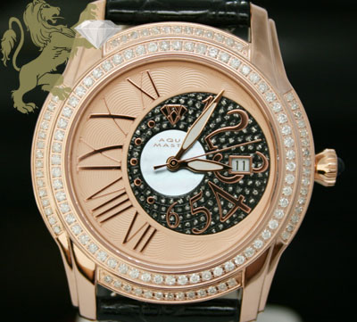 1.70ct Mens Aqua Master Genuine Diamond Watch 'rose Twilight W/ Rose & Black Dial'