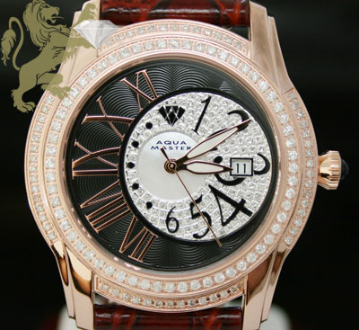 1.70ct Mens Aqua Master Genuine Diamond Watch 'rose Twilight W/ Black & White Dial'
