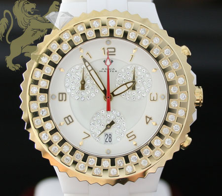 1.25ct Unisex Aqua Master Genuine Diamond Watch 'yellow Bezel/ White Ceramic'