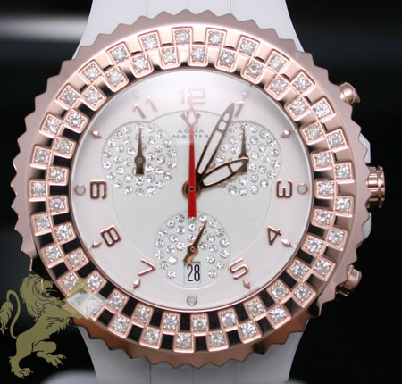 1.25ct Unisex Aqua Master Genuine Diamond Watch 'rose Bezel/ White Ceramic'