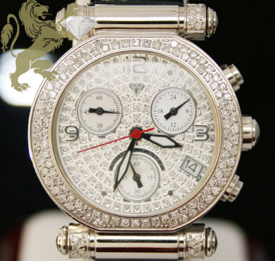 0.85ct Ladies Aqua Master Genuine Diamond Watch 'white Diamond Cut Dial'