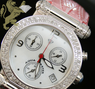 0.85ct Ladies Aqua Master Genuine Diamond Watch 'pink Band'