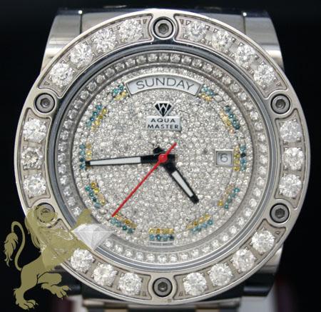 9.60ct mens aqua master genuine diamond