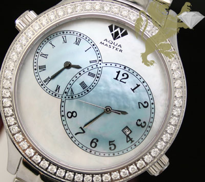 2.45ct Aqua Master Genuine Diamond Watch 'white & Blue Pearl Dial/ 2 Time Zones'