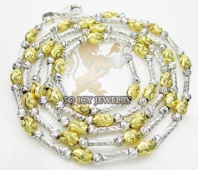 14k two tone gold diamond cut