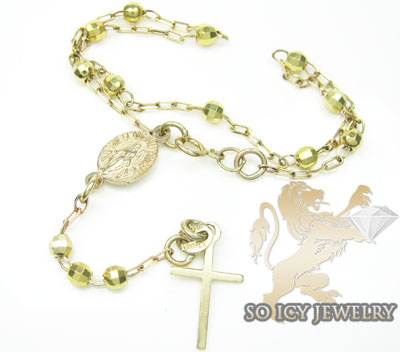 10K YELLOW GOLD DIAMOND CUT ROSARY BRACELET 9 INCHES 2.8MM