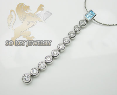 0.50ct 14k White Gold 'diamond & Blue Gemstone Journey Necklace'