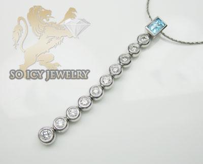 0.50ct 14k White Gold 'diamond & Blue Gemstone Journey Necklace'