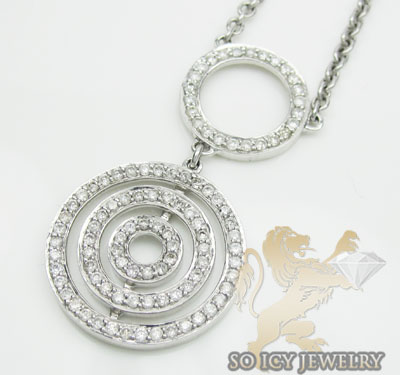 0.85ct 14k White Gold 'diamond Double Eternity Pendant & Necklace'