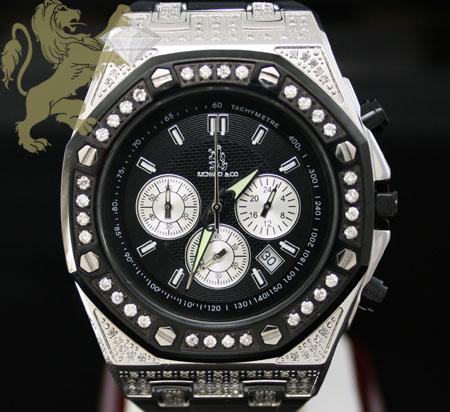 1.75ct Mens Richard & Co Genuine Diamond Watch 'roadster' Rubber Band