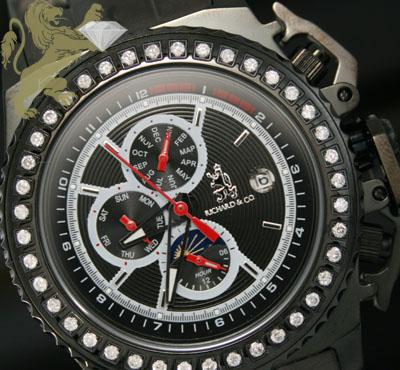 1.00ct Mens Richard & Co Genuine Diamond 'black Automatic/ Day-date' Watch