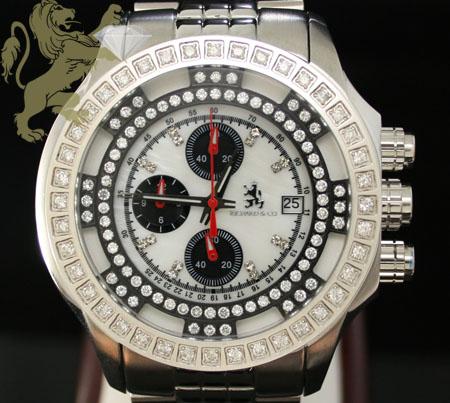 1.00ct Mens Richard & Co Genuine Diamond Watch 'white Multi-link Lex'