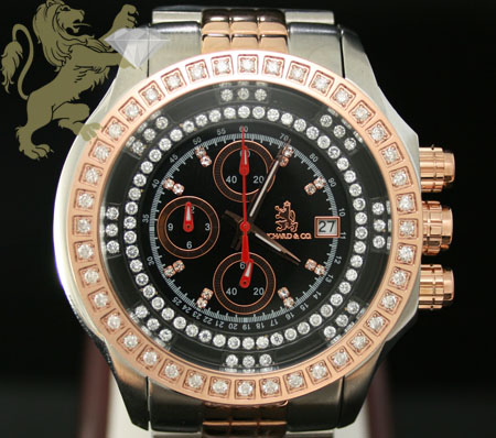 1.00ct Mens Richard & Co Genuine Diamond Watch 'two Tone Rose Multi-link Lex'