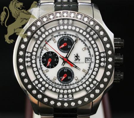 1.00ct Mens Richard & Co Genuine Diamond Watch 'two Tone Black Multi-link Lex'