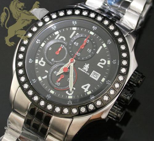 1.00ct Mens Richard Genuine Diamond Watch 'black & White Lexington'