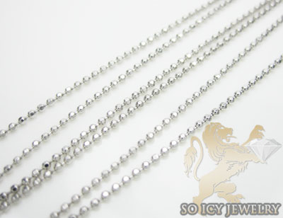 Ladies 14k White Gold Combat Ball Link Chain 16 Inch 1mm