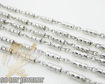 Ladies 14k White Gold Diamond Cut Link Chain 20 Inch 1.2mm