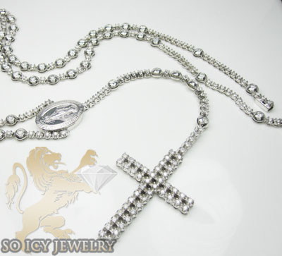 15.10ct 10k Solid White Gold Diamond 'tennis Rosary Chain'