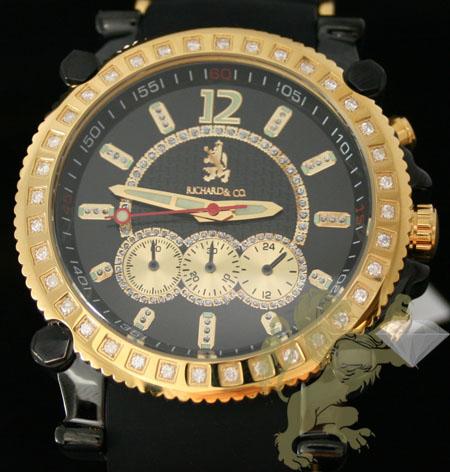 1.00ct Mens Richard & Co Genuine Diamond Watch 'black & Yellow S.s. Sport'