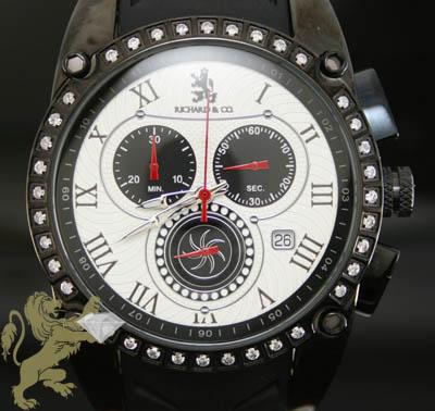 1.00ct Mens Richard & Co Genuine Diamond Watch '1 Row Bezel & Sport Rubber Band'