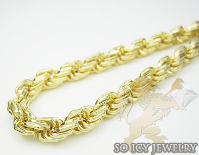 Mens 14k Hollow Yellow Gold Rope Bracelet 6mm 8 Inch
