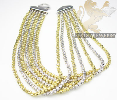 7 row 14k two tone diamond cut bead italian gold bracelet