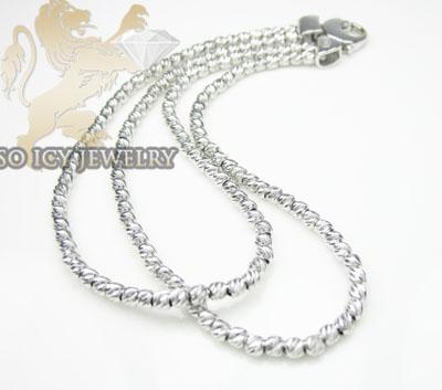 2 row 14k white diamond cut bead italian gold bracelet