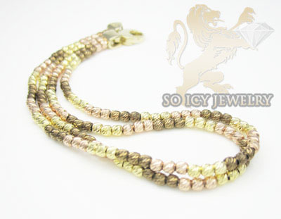 2 row 14k chocolate & pink bead diamond cut italian gold bracelet