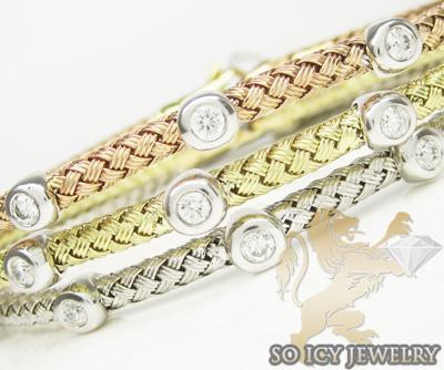 14k white gold basket weave round diamond bracelet 0.46ct