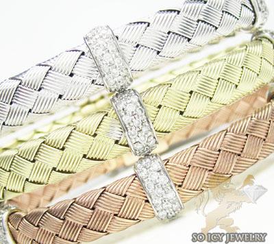 14k white gold basket weave round diamond bracelet
