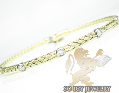 14k yellow gold basket weave round diamond bracelet