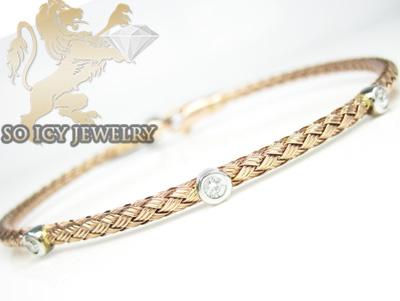 14k rose gold basket weave round diamond bracelet