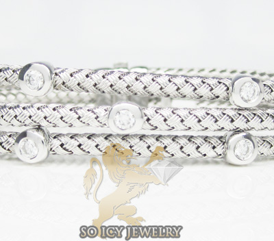 14k White Gold Basket Weave Round Diamond Bracelet