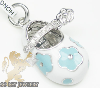 14k white & blue flower enamel diamond baby shoe pendant 0.09ct